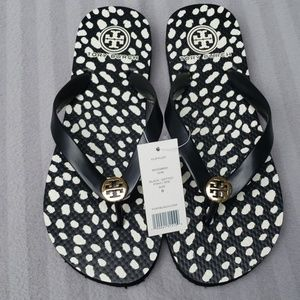 NWT -Tory Burch Dotted Pony Flip Flop Black Size 8